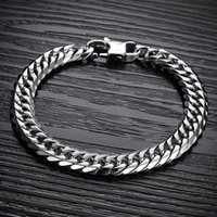 "Wholesale Mens Silver Curb Bracelet - Special Jewelry Mens Chain Silver Black 316L Stainless Steel Curb Cuban Chain Bracelet 8.66"" New"