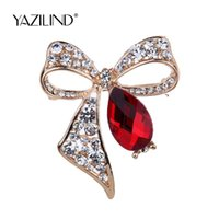 Wholesale Bow Cameo - Fashion Jewelry Clear Crystal Bow Cameo Pins Brooch Wedding