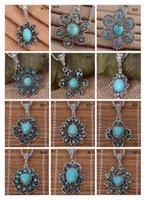 Wholesale Tibetan Green Necklace - Flower Tibetan silver turquoise necklace(with chain) 12 pieces a lot mixed style, fashion women's DIY European Beads pendant necklace GTTQN3