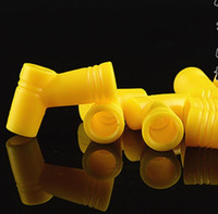 Wholesale Plastic Conversion - Color large mouth elbow universal joint conversion L angle plastic connector straw connector, Water pipes, glass bongs, glass Hookahs, smoki