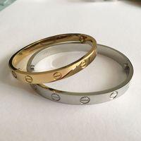 Wholesale 18k Gold Couple Bracelet - Titanium Steel Love Bracelets silver rose gold Bangles Women Men Screw Screwdriver h Bracelet Couple rose gold love bangle&bracelet women
