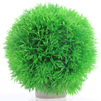 Wholesale Artificial Pine Needles - Artificial Pine Needle Grass Ball With Stand Tank Decor Simulation Round Short Plant Nice
