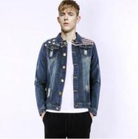 Wholesale Denim Jacket Men Print - 2016 autumn male denim jacket American flag print jacket man long sleeve turn-down collar young mens jacket CD A9802#