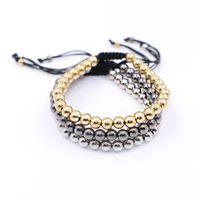 Wholesale Macrame Bead Jewelry - Fashion Strand 6mm Beads Braiding Macrame Bracelets Adjustable Silver Anil Arjandas Macrame Bracelets For Men Women Jewelry Gift