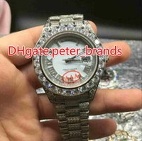 Wholesale Huge Black Diamond - Huge diamonds bezel big size 43mm wrist watch luxury brand hip hop rappers full iced out silver case white face dial automatic watches