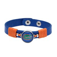 Wholesale Teen Bracelets - Wholesale- Drop Shipping Adjustable Premium Leather Ginger Snaps Bracelet with a Florida Gators 18mm Snap for Men,Women and Teens