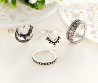 Barato 4pcs Ajustaram Anéis-4pcs / set Bohemian Vintage Rings Beach Retro Midi Rings Set Jóias Mulheres Knuckle Rings Party Fashion Metal Jóias grátis DHL D24S
