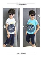Wholesale Children Garment Sports - summer boy's suit short pant sport running clothing garment children two-pieces short sleeve wholesale price free shipping