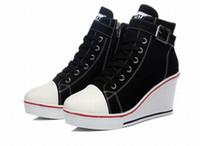 ingrosso più le scarpe da tennis di tela di canapa di formato-donne sneakers piattaforma alta cima punta rotonda lace up scarpe di tela cerniera fibbia zeppe donna tacchi alti signore scarpe casual plus size 35-43