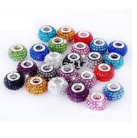 kern halsketten großhandel-Neue Multicolor New Resin Strass Bead Silber überzogene Core Kristall lose Halskette Perlen Fit Braceles Perlen 2525
