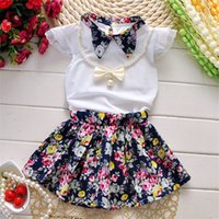 Wholesale Fantasia Blue - 2016 Princess Girl Dress Summer Dress children clothing baby Kids Top+Skirt fantasia infantis vestido Menina baby floral dress