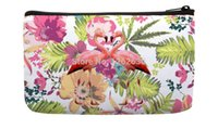 Wholesale Bird Pair - Wholesale- Watercolor Tropical floral and a Pair of flamingos Bird Pattern Print Small Cosmetic Bag Wristlet hand bag