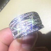 Wholesale Diamond 14kt Rings - Luxury high quality Authentic 14KT white gold filled Rings with pave Simulated diamond Compatible Fit Pandora rings European Women men style