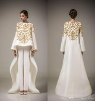 Wholesale Golden Yellow Formal Dress - Two Pieces Prom Dresses 2017 Vintage Long Sleeve Saudi Arabian Robe Muslim Formal Dresses Golden Embroidery Flowers White Evening Dress
