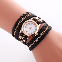 Wholesale Ladies Wrap Watches Wholesalers - Fashion Colorful Vintage women watches Weave Wrap Rivet ladies Leather Bracelet wristwatches chain dress watches for women ladies