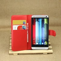 Wholesale Cover One M7 - Free Shipping Litchi texture PU Leather Book Style Case For HTC One M7 Flip Case Wallet card stand cover Case