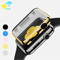 Wholesale Film Bumper - Electroplate PC Full Screen Protector Film Case Cover Shell Bumper for Apple Watch iWatch Series 1 2 38mm 42mm Accessories With Opp Bag
