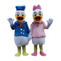 Wholesale White Duck Costume - Newcome White Duck Donald Duck Mascot Costume Duckling Die Ente Quackquack Wearing Blue Suit Mascotte Adult No.954 Free Ship