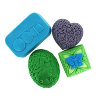 Wholesale Chocolate Butterfly Molds For Fondant - 4 cells woman heads rose,butterfly,snowman silicone mold soap,fondant candle resin molds,sugar craft tools, chocolate moulds ,form for soap