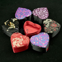 Wholesale Chinese Jewellery - Silk Satin Craft Small Gift Box for Heart Ring Box Wedding Favor Box Storage Case Chinese Floral Cardboard Jewellery Packaging Boxes