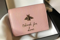Wholesale Bee Coin - 2017 new leather wallet bee purse short fresh folding head layer leather wallet