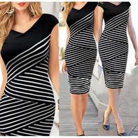 Wholesale Elegant Black Stripes Dress - Elegant Women Summer V Neck Dress Black and white stripe Stitching Pencil Dresses Lady Knee-Length Party Bodycon Dress