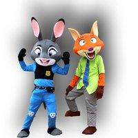 Wholesale Wild Mascots - 2016 wild animals latest city film quality Judy rabbit Nick fox mascot cartoon doll clothing walking free shipping