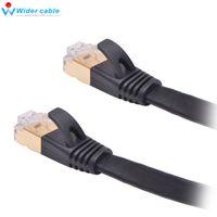 Wholesale Ethernet Rj45 Patch Cable - High Quality 0.5M Black Gold Plat CAT7 Ethernet Cable Bare Copper RJ45 to RJ45 Shield Patch Cable