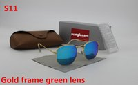 Wholesale protect flash - 1pcs New high quality fashion vintage men's brand sunglasses gold frame green flash glass lens UV400 protect brown box free shipping