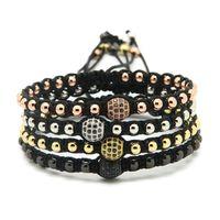 Wholesale Macrame Jewelry - Wholesale High Grade Braiding Macrame Jewelry, 4mm Round Bronze Beads with 8mm Micro Paved Black Zircons Cz Bracelets