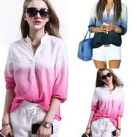Wholesale Printed Chiffon Button Blouse - 2016 New Fashion Women's Gradient Color V-Neck Button Down Shirt Long Sleeve Chiffon Casual Blouse WY6967