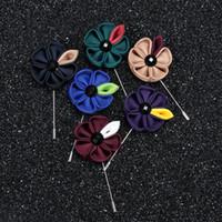 sun flower brooch Australia - Fashion Hot Sale Lapel Flower Sun Flower Handmade Boutonniere Stick Brooch Pin Mens Accessories 15 Color