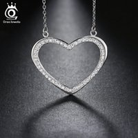 Wholesale Heart Shaped Necklaces For Girls - Heart Shape Pendant Paved Luxury AAA Austrian Crystal Silver Plated Necklace for Women Fashion Girls' Gift ON111