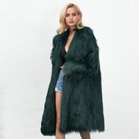 kadın s trençkot pembe toptan satış-Kış Faux Kürk Uzun Coat Kadınlar Yaka Yaka Uzun Kollu Casual Trençkot Yeni Streetwear Bayanlar Parti Dış Giyim Pembe Yeşil Gri
