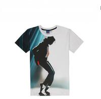Wholesale 3d Picture Shirt - 2016 summer new style Michael Jackson t shirt for men dance men shirt 3D picture shirt