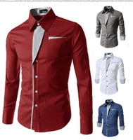 Wholesale asian dress xl - Brand New Mens Formal Business Shirts Casual Slim Long Sleeve Dresse Shirts Camisa Masculina Casual Shirts Asian Size M-4XL