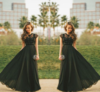 kadınlar için mütevazi gece elbiseleri toptan satış-Zarif Şeffaf Dantel Siyah Örgün Parti Abiye Kapaklı Kollu A-line Şifon Jewel Boyun Kadınlar Mütevazı Uzun Gelinlik Modelleri 2019 Maxi törenlerinde