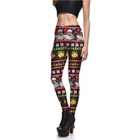 Wholesale Pattern Leggings Xl - Womens Christmas Santa Claus Print Pattern Slim Leggings Skinny Pants Female Plus Size Digital Printing Elastic Trousers S-4XL