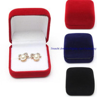 Wholesale earring cases - Fashion Small Red Black Blue Velvet Blocked Jewelry Package Box Case Insert Ring Stud Earrings Storage Packaging Gift Boxes Free Shipping