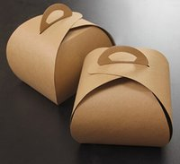 Wholesale Paper Sandwich Box - 9*7.5*10cm 40pcs kraft boxes for cupcakes with handle,kraft cupcake cardboard boxes