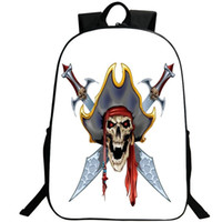 Wholesale Sea Rover - Pirate skull backpack Sea rover daypack Knife hat schoolbag Leisure rucksack Sport school bag Outdoor day pack