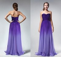 Wholesale Sweetheart Gradient Prom Dress - Purple Gradient Ombre Dresses Prom Dress Sweetheart Evening Wear Formal Party Gown New Celebrity Gowns Bridesmaids Dress Criss Cross Piping