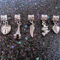 Wholesale Pandora Eiffel - Kiss Eiffel Tower Feather Witch Heart Charm Bead 925 Silver Dangle Fashion Women Jewelry Stunning Design European Style For Pandora Bracelet