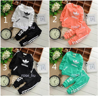 Wholesale b sleeve - Boys girls clover leaf letters Sports suits NEW children 5 Color Long sleeve T-shirt+trousers 2pcs set suit baby clothes B