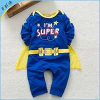 Wholesale Superman Romper Long Sleeve - Autumn and spring superman style baby boy kids romper gentleman longsleeve clothes sets baby clothing for boys kids baby rompers
