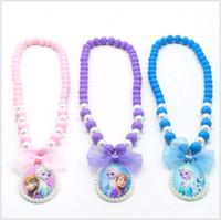 Wholesale Anna Necklace - Cartoon Children Jewelry Gift Set Frozen Elsa Anna Pattern Princess Pendants Necklaces Bracelets Sets for Child Girls Wholesale