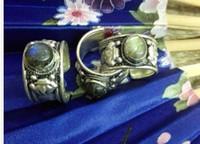 Wholesale Black Moonstone Ring - Special Tibet Silver Lace Black Moonstone Ring Adjustable Religion labradorite
