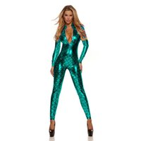 Wholesale Catsuit Green Metallic - Sexy Vinyl Catwomen Latex Bodysuit Wetlook Metallic Catsuit Front Zipper Faux Leather Jumpsuit Fish Scale PVC Mermaid Costume W207995