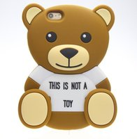 Wholesale teddy bear phone cases online - 3D teddy bear Cartoon animals Cute Toy brown teddy bear silicone case For iphone s s SE plus Cell phone case