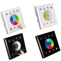 luces de pared rgb al por mayor-RGB RGBW Un solo color Montado en la pared LED Controlador Interruptor Controladores de panel táctil para 3528 5050 5630 LED Strip Lights Lámpara Negro Blanco